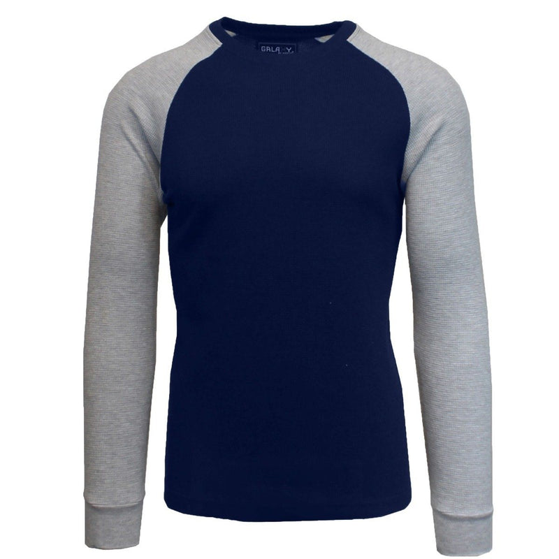 Galaxy by Harvic Men's Raglan Thermal Shirt - Assorted Sizes Men's Apparel S Navy/Heather Gray - DailySale