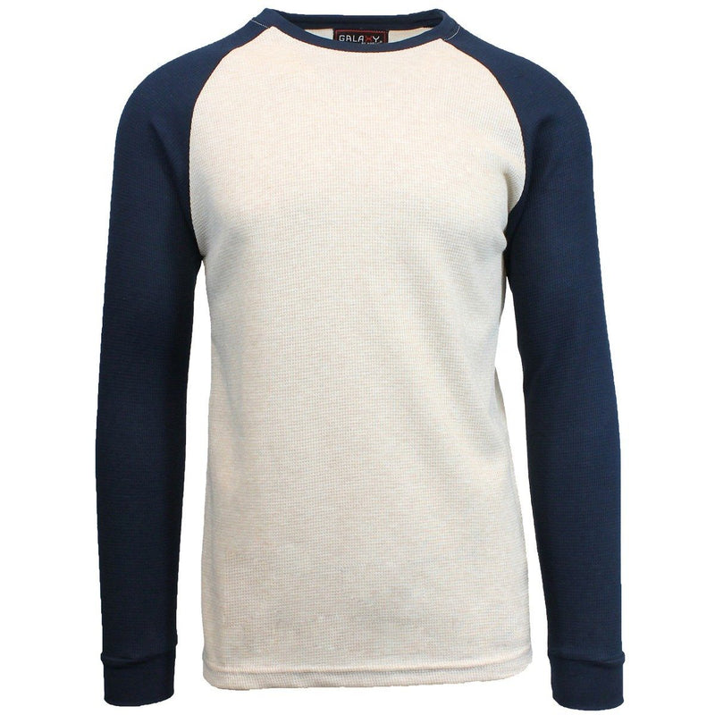 Galaxy by Harvic Men's Raglan Thermal Shirt - Assorted Sizes Men's Apparel S Oatmeal/Navy - DailySale