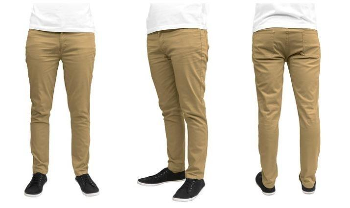 Galaxy by Harvic Men's Slim Fit Cotton Stretch Chinos - Assorted Colors and Sizes Men's Apparel 30 x 30 Timber - DailySale