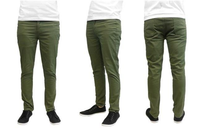 Galaxy by Harvic Men's Slim Fit Cotton Stretch Chinos - Assorted Colors and Sizes Men's Apparel 40 x 32 Olive - DailySale