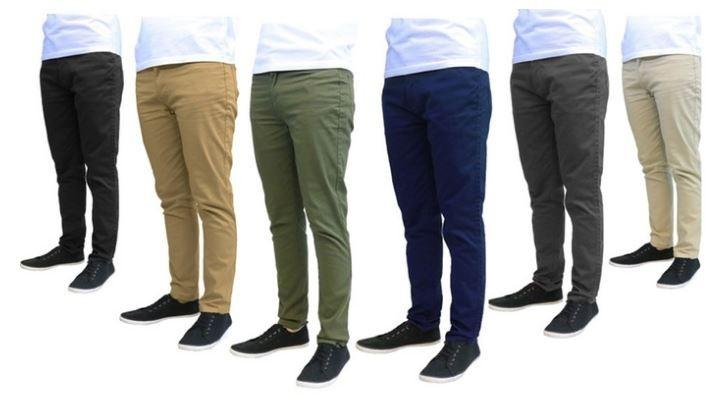 Galaxy by Harvic Men's Slim Fit Cotton Stretch Chinos - Assorted Colors and Sizes Men's Apparel - DailySale