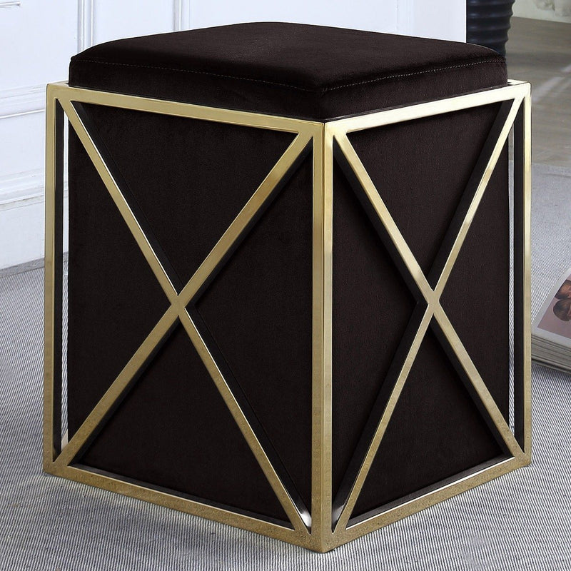Genesis Ottoman Stainless Steel X Frame Square Velvet Bench Furniture & Decor Black - DailySale