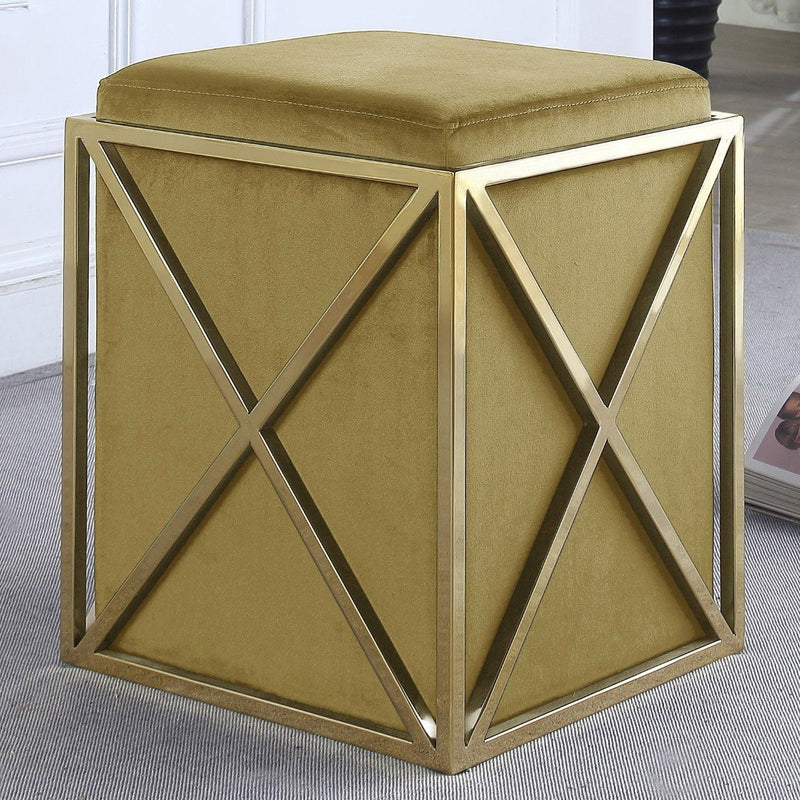 Genesis Ottoman Stainless Steel X Frame Square Velvet Bench Furniture & Decor Gold - DailySale