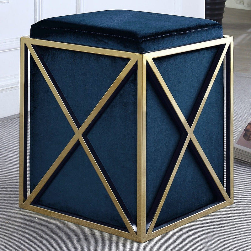Genesis Ottoman Stainless Steel X Frame Square Velvet Bench Furniture & Decor Navy - DailySale