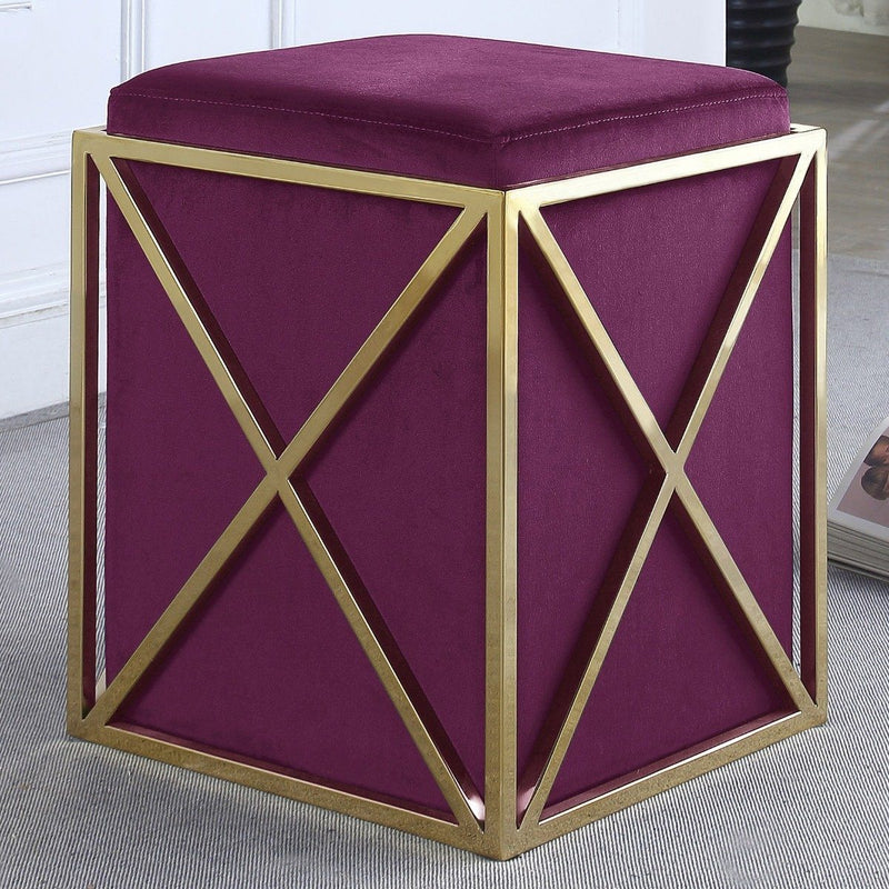 Genesis Ottoman Stainless Steel X Frame Square Velvet Bench Furniture & Decor Plum - DailySale