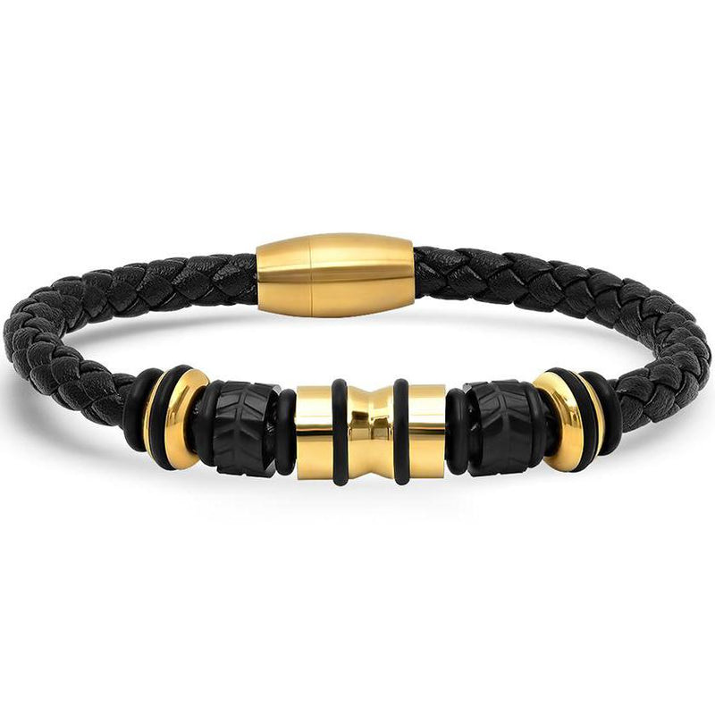 Genuine Black Leather Braided Bracelet With Stainless Steel Accents for Men Jewelry Gold - DailySale
