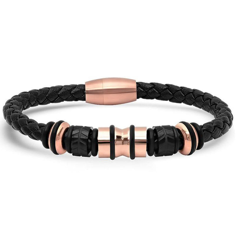 Genuine Black Leather Braided Bracelet With Stainless Steel Accents for Men Jewelry Rose Gold - DailySale