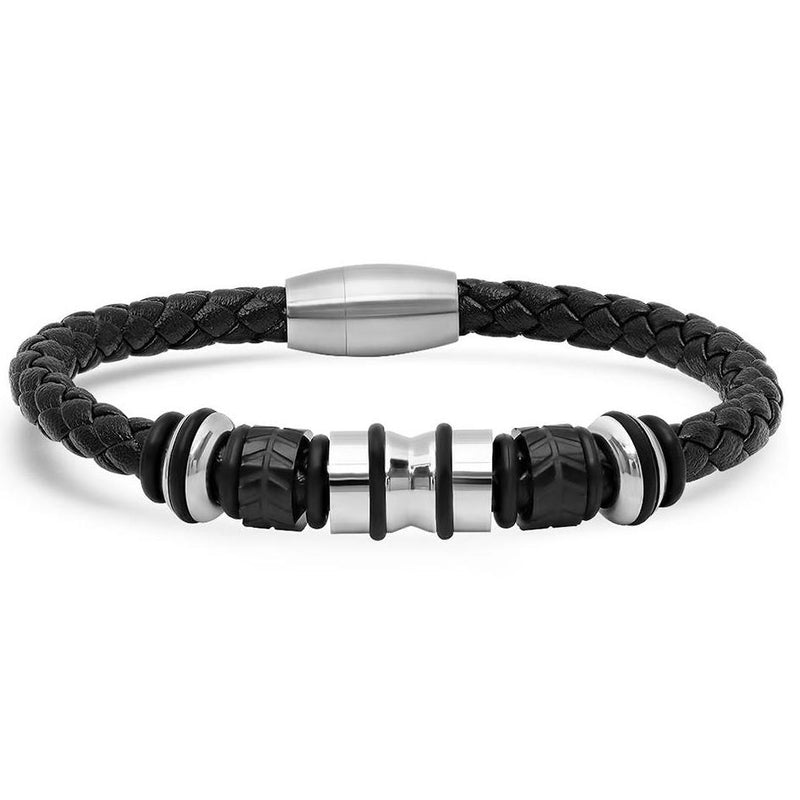 Genuine Black Leather Braided Bracelet With Stainless Steel Accents for Men Jewelry Silver - DailySale