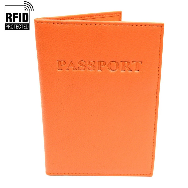 Genuine Leather RFID Passport Holder Handbags & Wallets Orange - DailySale