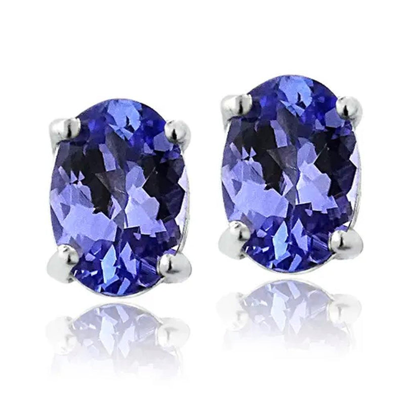 Genuine Tanzanite Round or Oval Shaped Studs Jewelry Oval - DailySale
