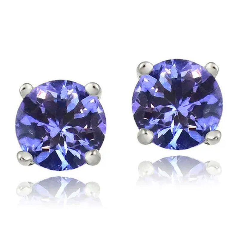 Genuine Tanzanite Round or Oval Shaped Studs Jewelry Round - DailySale