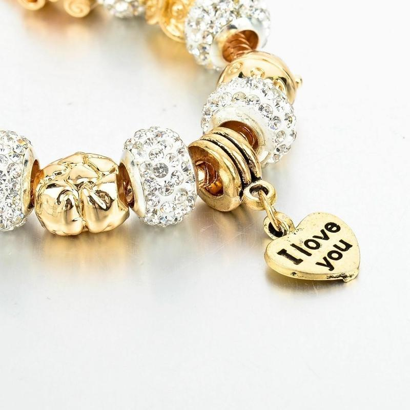 "Gold Austrian Crystal ""I Love You"" Charm Bracelet Jewelry - DailySale"