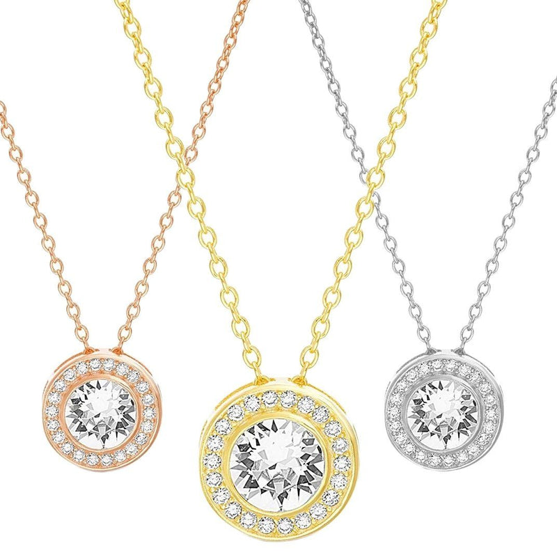 Golden NYC Jewelry 18K Gold Plated Round Halo Necklace Jewelry - DailySale