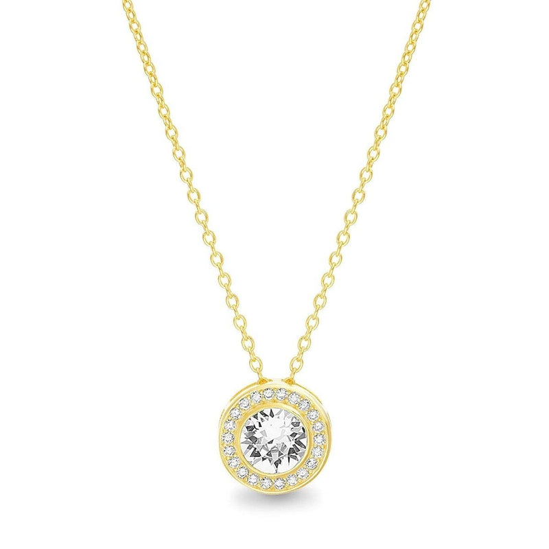 Golden NYC Jewelry 18K Gold Plated Round Halo Necklace Jewelry Gold - DailySale