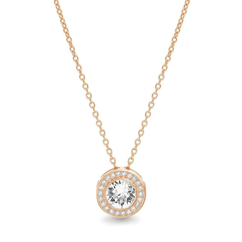 Golden NYC Jewelry 18K Gold Plated Round Halo Necklace Jewelry Rose Gold - DailySale