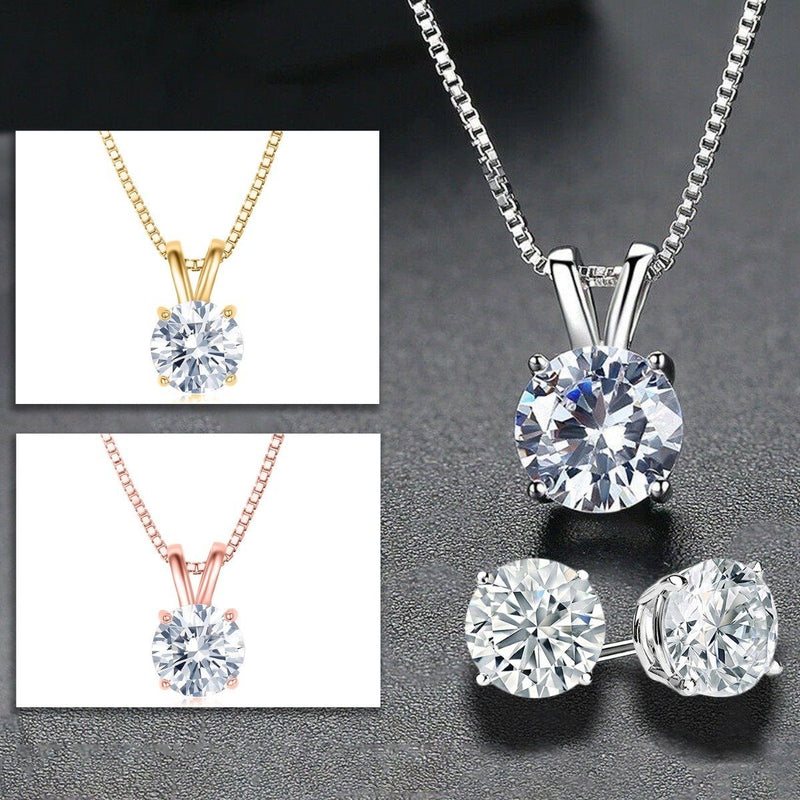 Golden NYC Jewelry 3 CTTW Round Necklace and Earrings Set Jewelry - DailySale