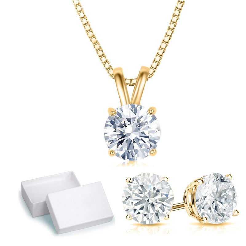 Golden NYC Jewelry 3 CTTW Round Necklace and Earrings Set Jewelry Gold - DailySale