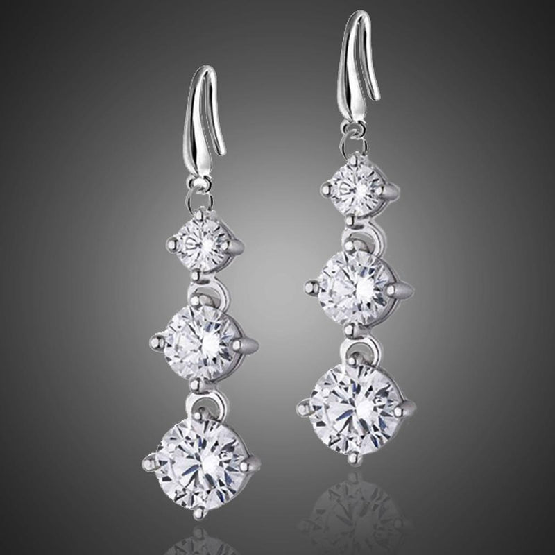 Graduated Drop Earrings with Swarovski Crystals Jewelry - DailySale