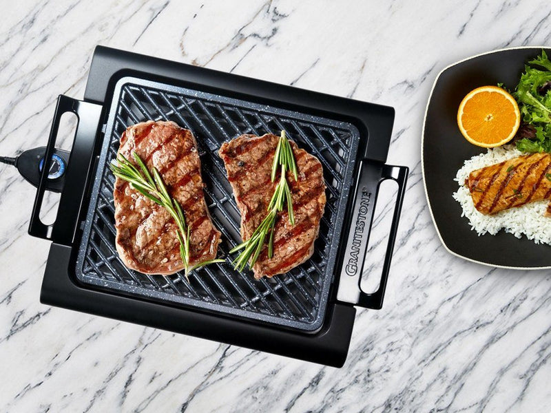 GraniteStone Diamond Non-Stick Aluminum Smokeless Indoor Electric Grill Kitchen Essentials - DailySale