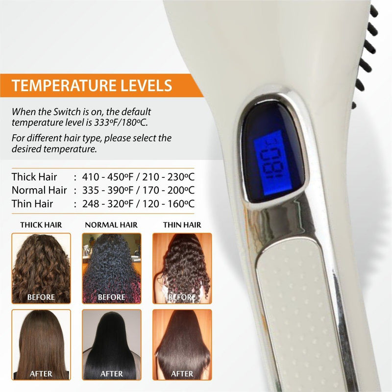 Hair Straightening Brush ION heating technology, Temperature Control Beauty & Personal Care - DailySale