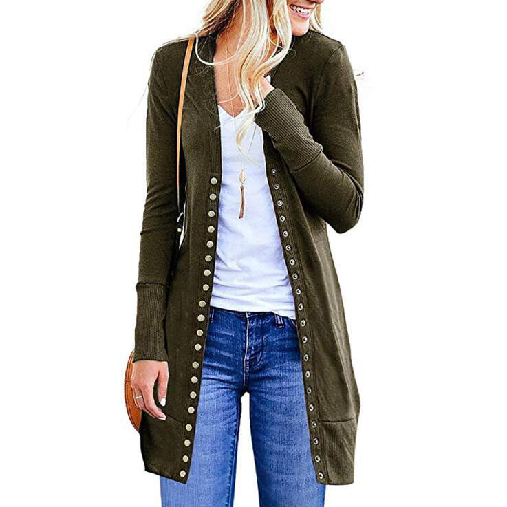 Halife Women's Long Sleeve Snap Button Down Knit Ribbed Neckline Cardigan Sweater / Army Green / Large