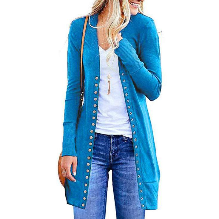 Halife Women's Long Sleeve Snap Button Down Knit Ribbed Neckline Cardigan Sweater Women's Clothing Blue S - DailySale