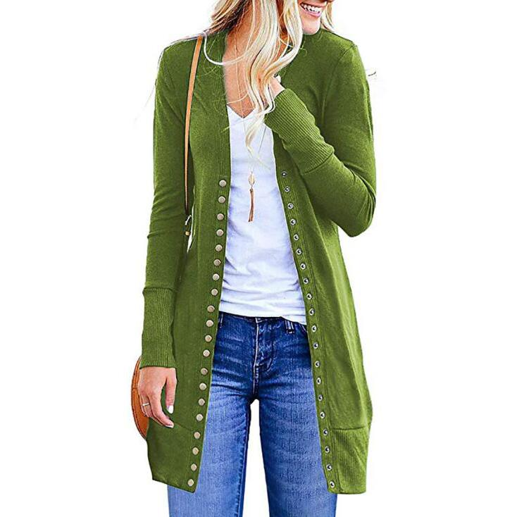 Halife Women's Long Sleeve Snap Button Down Knit Ribbed Neckline Cardigan Sweater Women's Clothing Green S - DailySale