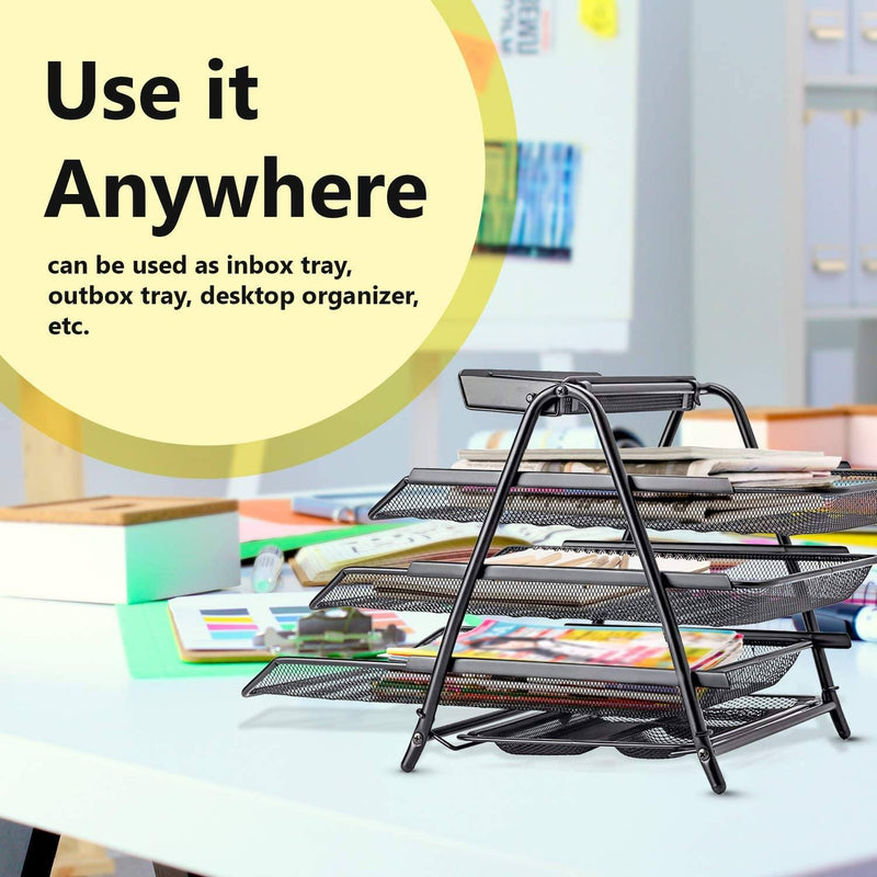 Halter 3 Tier Mesh Desktop Organizer with Sliding Paper Trays Everything Else - DailySale