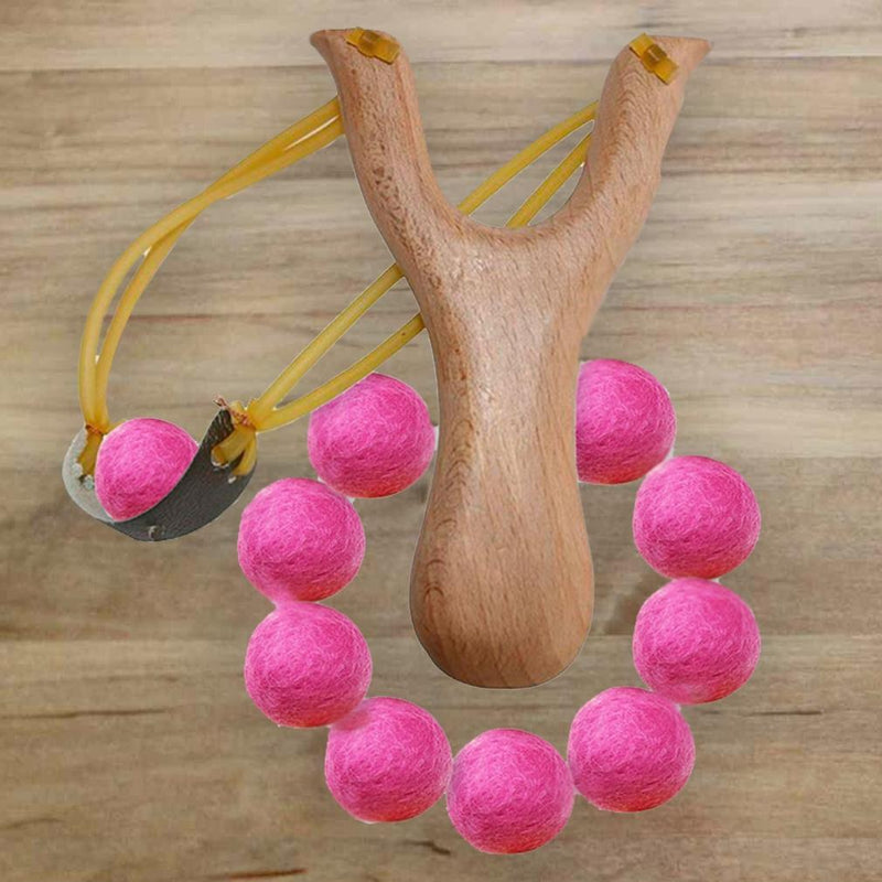Handcrafted Wood Slingshot With Soft Felt Balls Toys & Games - DailySale