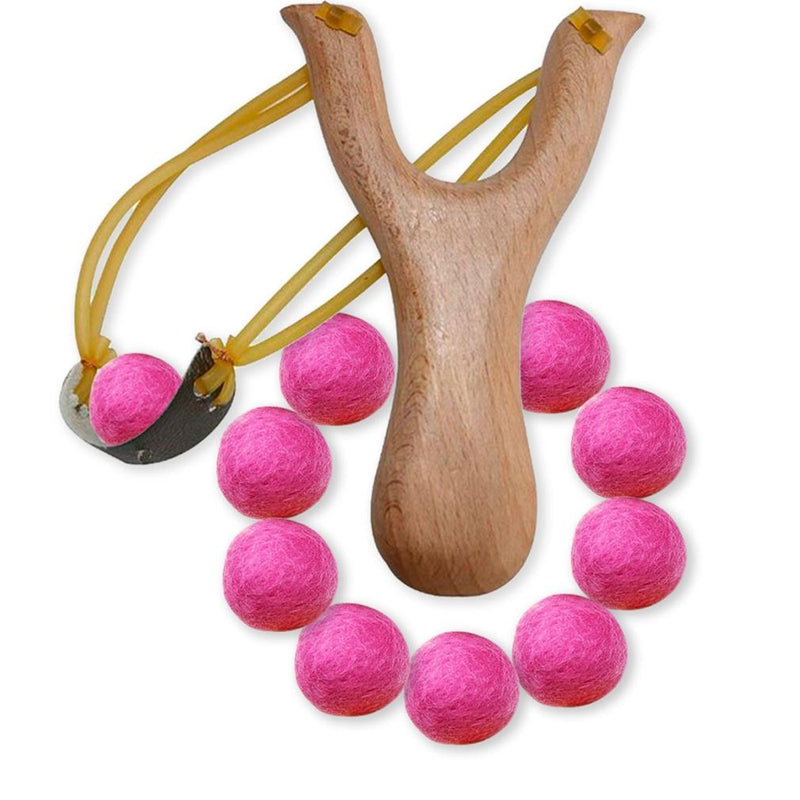 Handcrafted Wood Slingshot With Soft Felt Balls Toys & Games Pink - DailySale