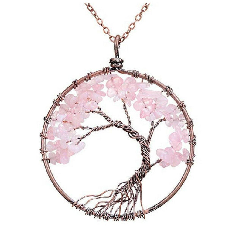 Handmade Genuine Gemstone Chakra Tree of Life Pendant Necklace Jewelry Pink - DailySale