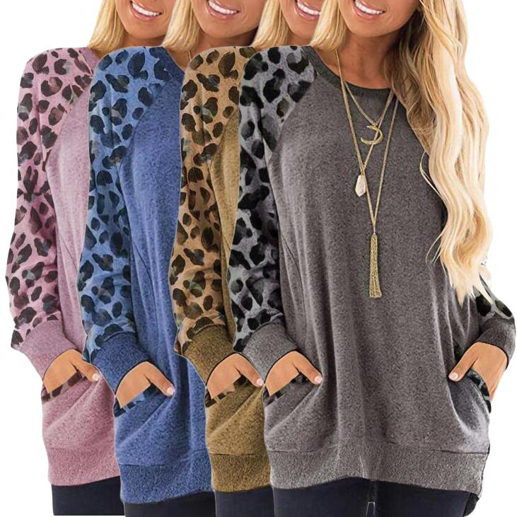 Haute Edition Women's Ultra Soft Long Sleeve Pullover Sweatshirt Leopard Design Women's Clothing - DailySale