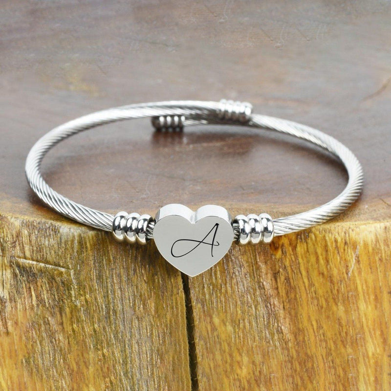 Heart Cable Initial Bracelet Hypoallergenic and Adjustable Jewelry A - DailySale