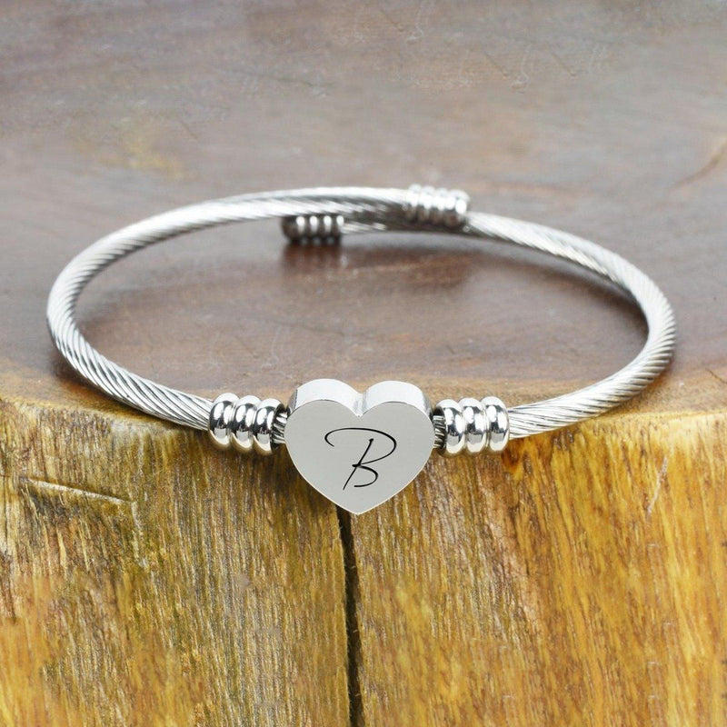 Heart Cable Initial Bracelet Hypoallergenic and Adjustable Jewelry B - DailySale