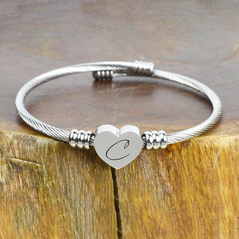 Heart Cable Initial Bracelet Hypoallergenic and Adjustable Jewelry C - DailySale