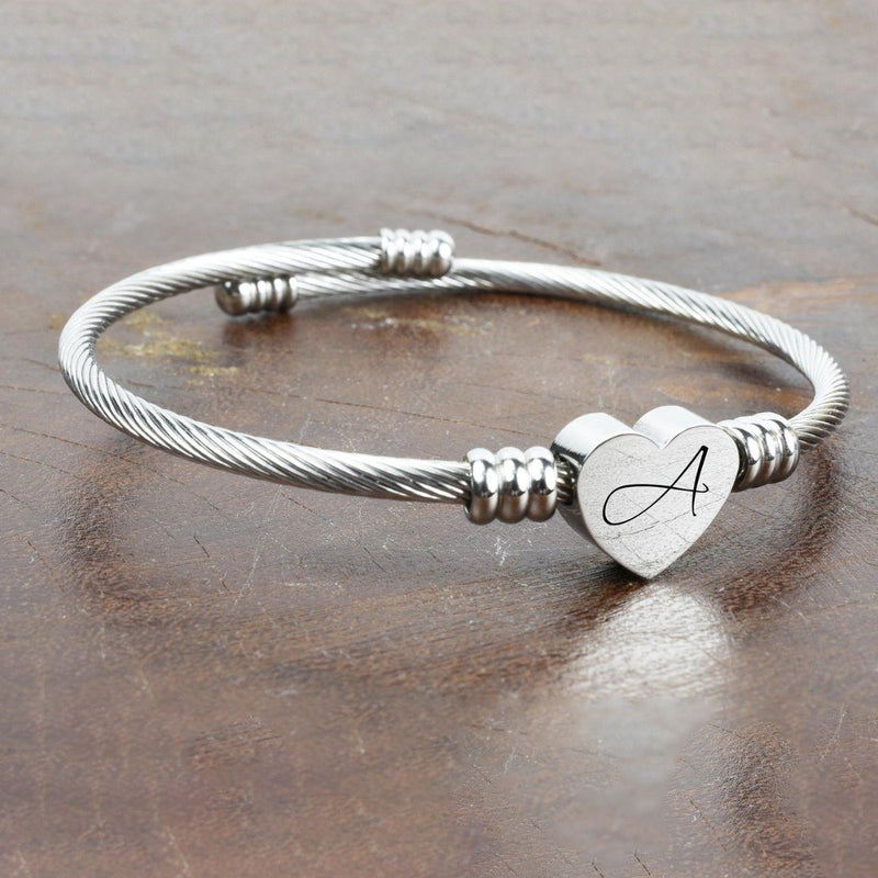 Heart Cable Initial Bracelet Hypoallergenic and Adjustable Jewelry - DailySale