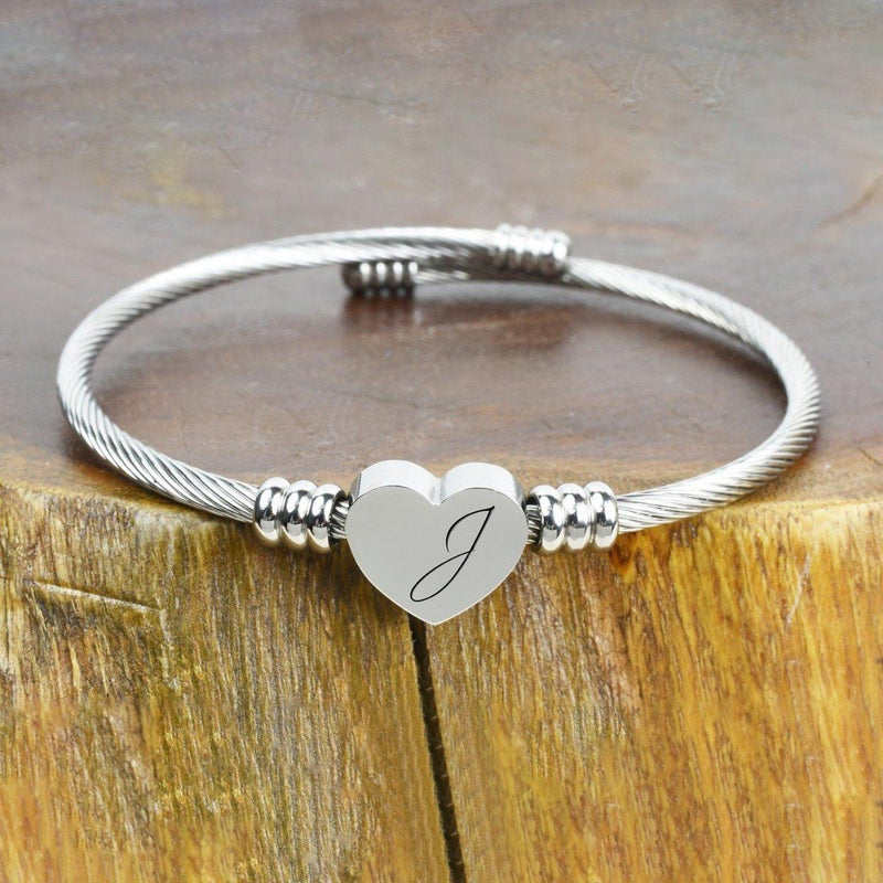 Heart Cable Initial Bracelet Hypoallergenic and Adjustable Jewelry J - DailySale