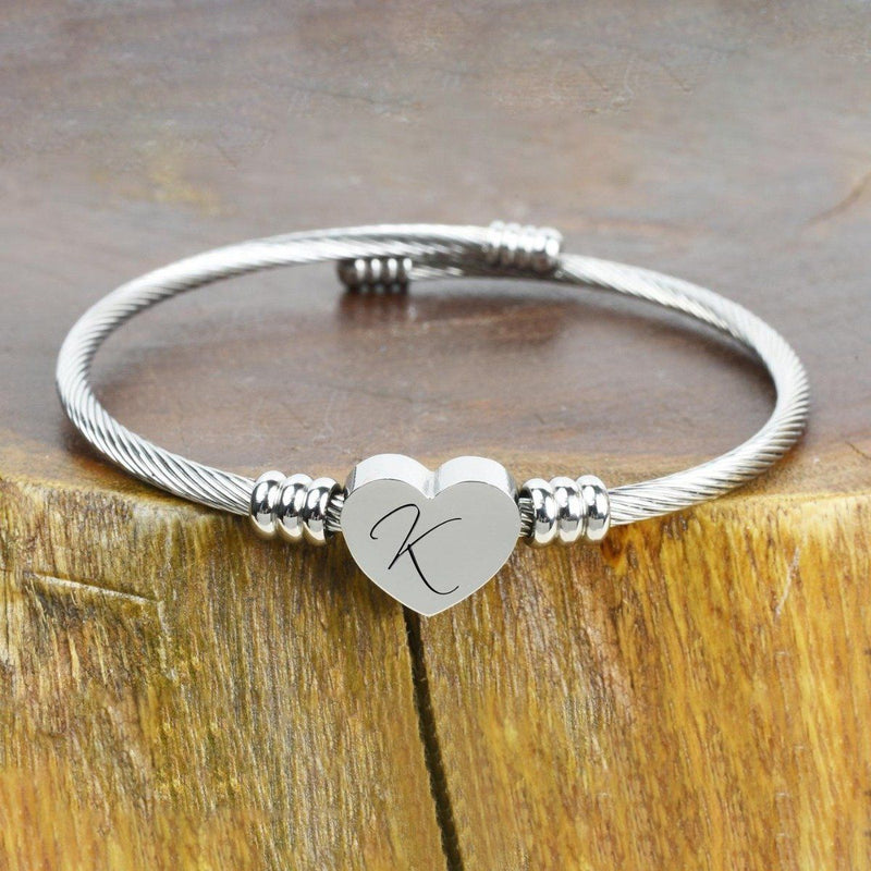 Heart Cable Initial Bracelet Hypoallergenic and Adjustable Jewelry K - DailySale