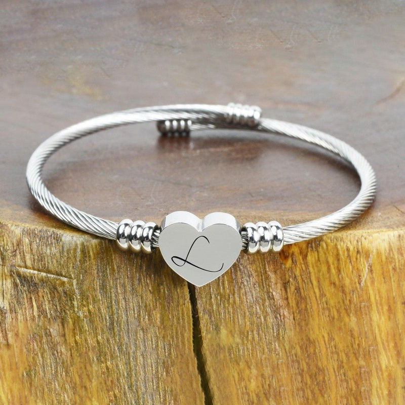 Heart Cable Initial Bracelet Hypoallergenic and Adjustable Jewelry L - DailySale
