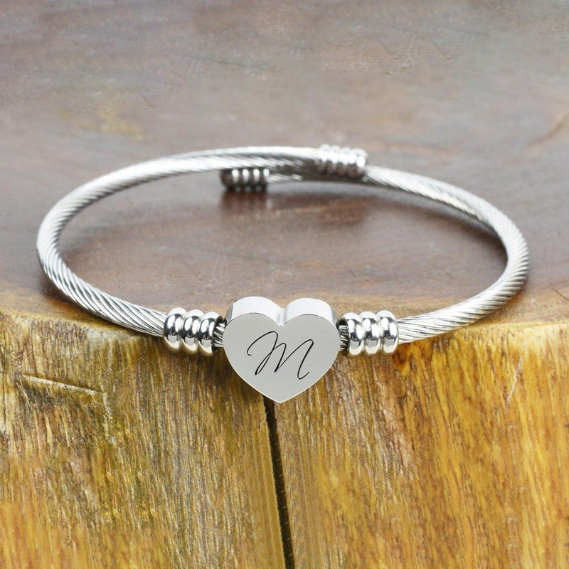Heart Cable Initial Bracelet Hypoallergenic and Adjustable Jewelry M - DailySale