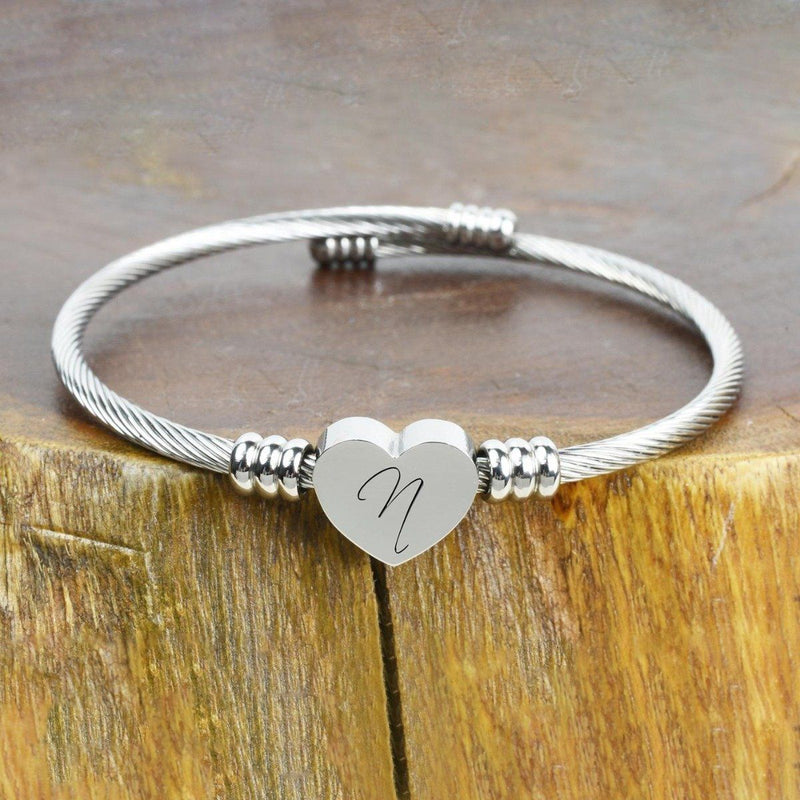 Heart Cable Initial Bracelet Hypoallergenic and Adjustable Jewelry N - DailySale