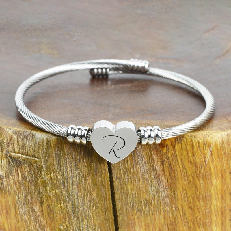 Heart Cable Initial Bracelet Hypoallergenic and Adjustable Jewelry R - DailySale