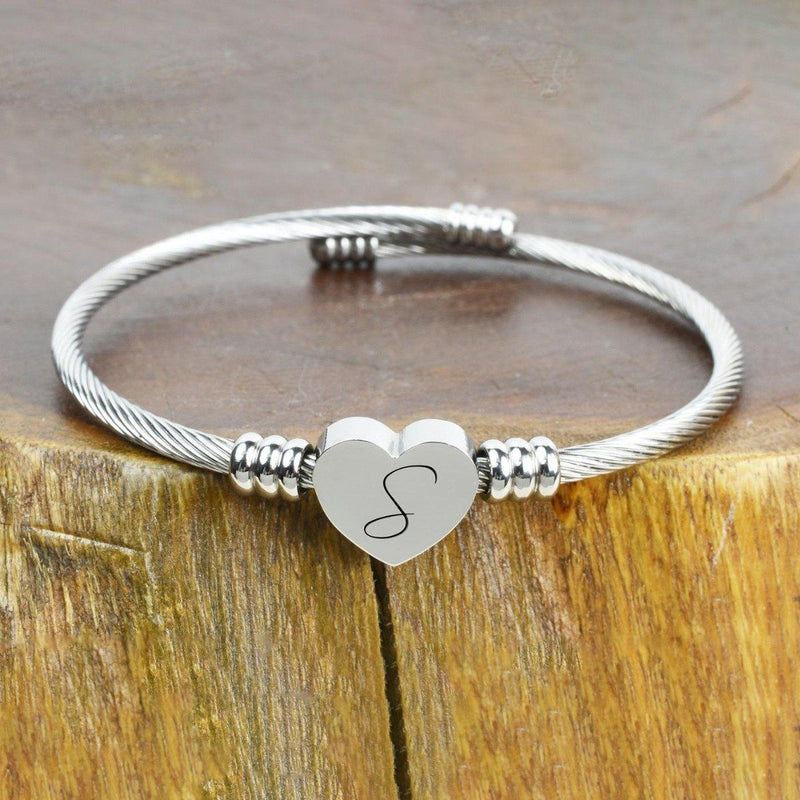 Heart Cable Initial Bracelet Hypoallergenic and Adjustable Jewelry S - DailySale