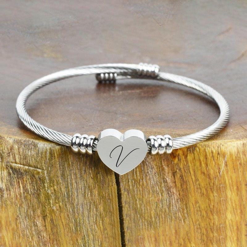 Heart Cable Initial Bracelet Hypoallergenic and Adjustable Jewelry V - DailySale