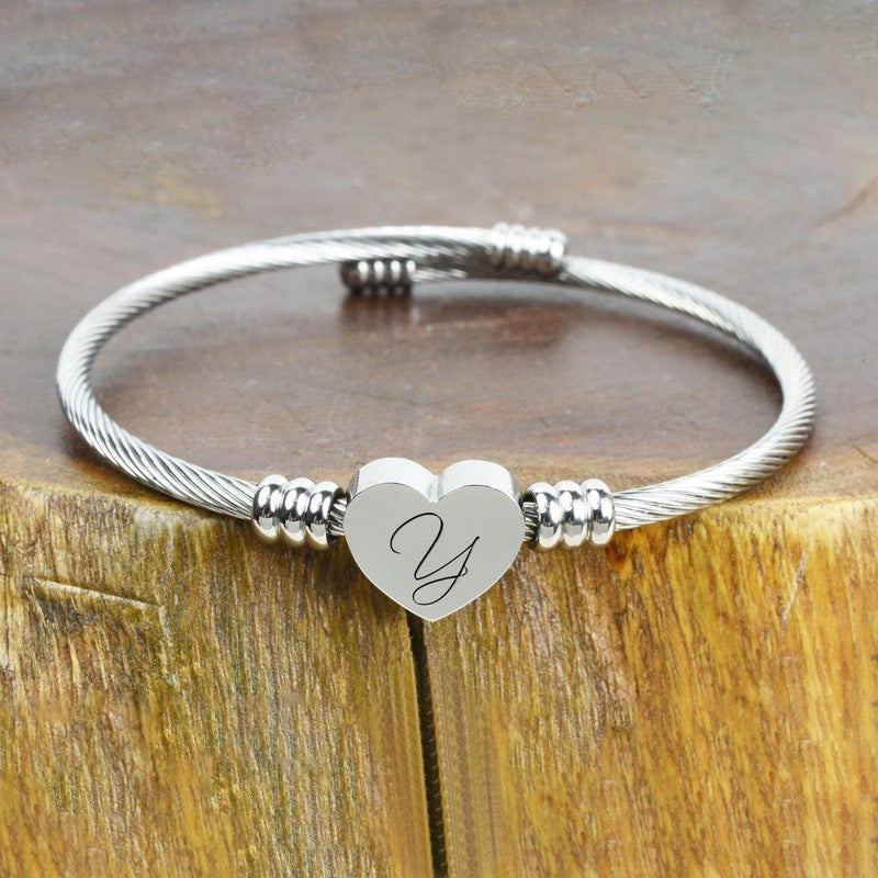 Heart Cable Initial Bracelet Hypoallergenic and Adjustable Jewelry Y - DailySale
