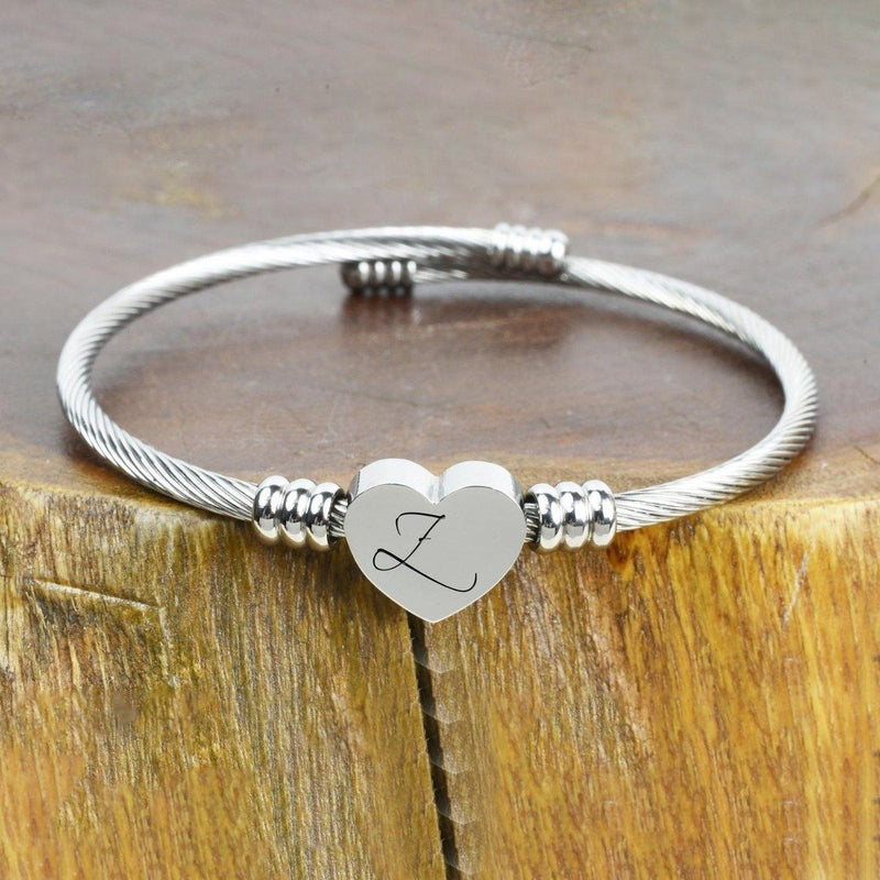 Heart Cable Initial Bracelet Hypoallergenic and Adjustable Jewelry Z - DailySale