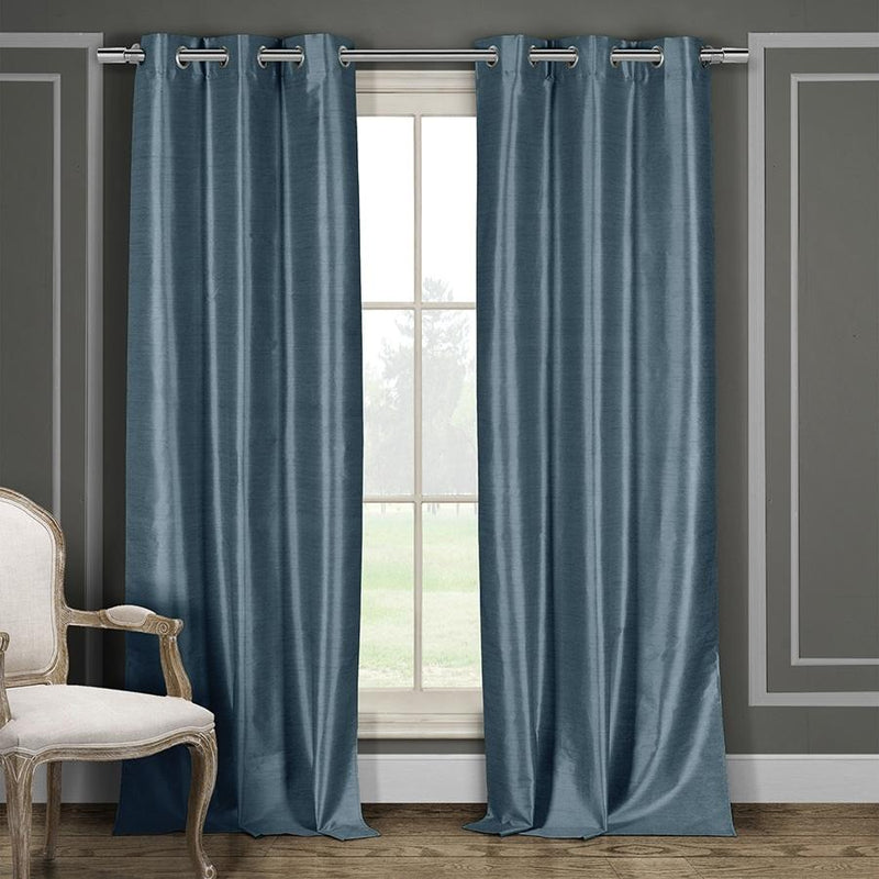 Heavy Faux-Silk Double-Layered Blackout Thermal Panel Pair - Assorted Colors Furniture & Decor Blue - DailySale
