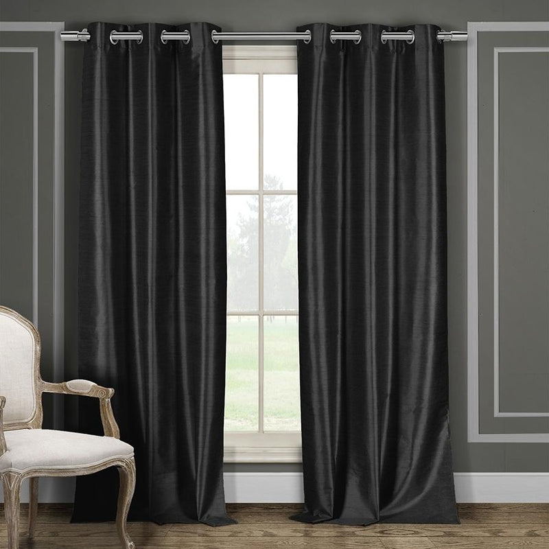 Heavy Faux-Silk Double-Layered Blackout Thermal Panel Pair - Assorted Colors Furniture & Decor - DailySale