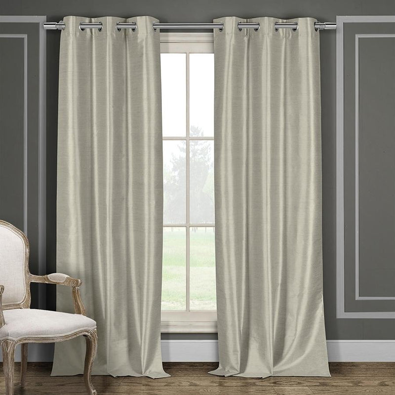 Heavy Faux-Silk Double-Layered Blackout Thermal Panel Pair - Assorted Colors Furniture & Decor Taupe - DailySale