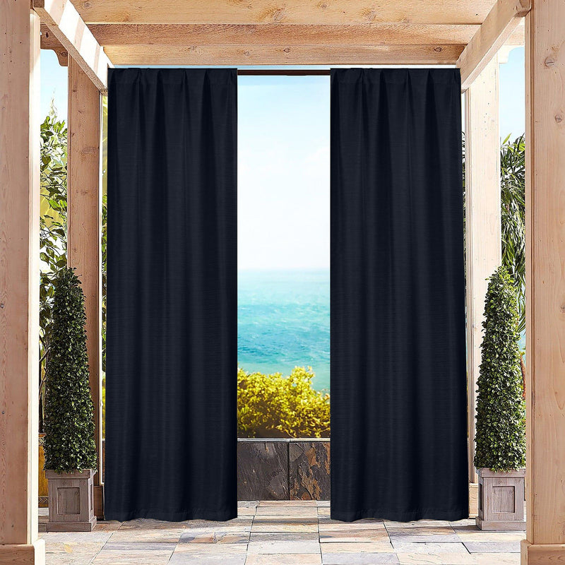 Heavy-Textured Indoor-Outdoor Blackout Curtains Pair Panel Lighting & Decor Navy - DailySale